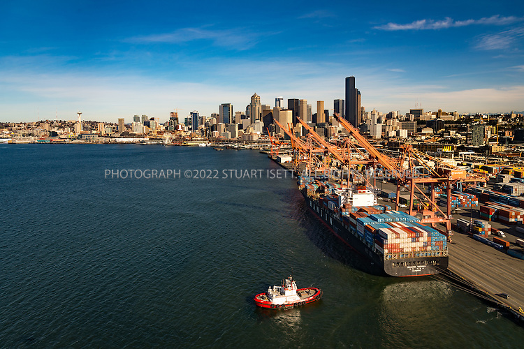February 8th, 2016 &mdash; Puget Sound, Seattle, Washington, USA<br /> <br /> Seattle&rsquo;s waterfront seen from a helicopter withe Port of Seattle in the foreground. <br /> <br /> Photograph by Stuart Isett<br /> &copy;2015 Stuart Isett. All rights reserved.