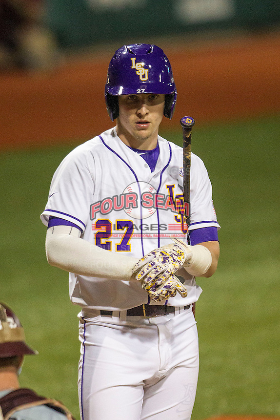 LSU Tigers infielder Danny Zardon (27) at bat during a Southeastern Conference baseball game against the Texas A&M Aggies on April 23, 2015 at Alex Box Stadium in Baton Rouge, Louisiana. LSU defeated Texas A&M 4-3. (Andrew Woolley/Four Seam Images)