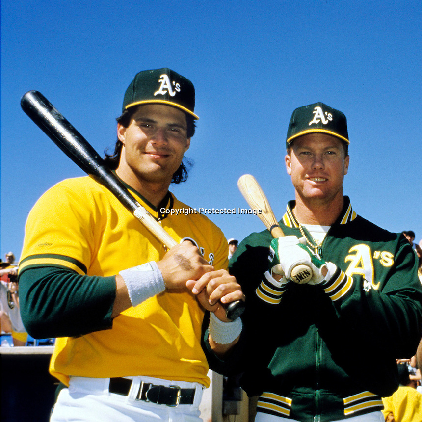 Bash Brothers, Jose Canseco and Mark McGuire.(photo by Ron Riesterer/Oakland Tribune)