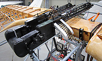 BNPS.co.uk (01202 558833)<br /> Pic: PhilYeomans/BNPS<br /> <br /> Taking shape - the imitation twin Spandau machine guns are fitted to the Dreidecker. <br /> <br /> Dreaded Red Baron to fly again...WW1 Ace's feared 'Fokker Dreidecker' to finally fly over Britain.<br /> <br /> A German GP based in Norfolk has spent 8 years building a Fokker triplane in his garage as a tribute to infamous WW1 Ace Manfred von Ricthofen, who terrorised the skies over the Western front during the first war.<br /> <br /> Dr Peter Brueggemann, 52, will fulfil his childhood dream and emulate the notorious German fighter pilot when the Dreidecker Dr.1 fighter finally achieves lift-off this summer.<br /> <br /> Dr Brueggemann has even acquired the title Baron from the independent territory of Sealand so he can take to the skies as Baron Peter von Brueggemann in homage to his idol.<br /> <br /> The GP at the Holt Medical Practice in Norfolk hopes to be airborne in a few months once tests on the engine are completed at Felthorpe airfield near Norwich where he has devoted thousands of hours to the project.<br /> <br /> The father-of-two, who has lived in England with wife Sue for 20 years, has been taking flying lessons since his project began.