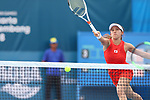 Miyu Kato (JPN), <br /> AUGUST 22, 2018 - Tennis : <br /> Women's Doubles Round of 16<br /> at Jakabaring Sport Center Tennis Court <br /> during the 2018 Jakarta Palembang Asian Games <br /> in Palembang, Indonesia. <br /> (Photo by Yohei Osada/AFLO SPORT)