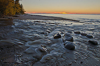 The Hurricane River bubbles into Lake Superior at Sunset, Pictured Rocks National Lakeshore, Alger County, Michigan