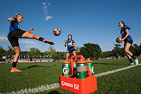 Kansas City, MO - Sunday July 02, 2017:  Erika Tymrak, Alexa Newfield and Katie Bowen warm up together before a regular season National Women's Soccer League (NWSL) match between FC Kansas City and the Houston Dash at Children's Mercy Victory Field.