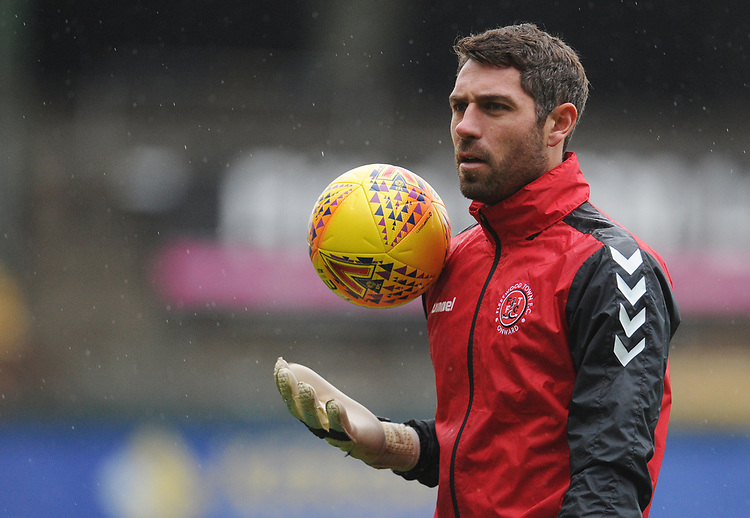 Fleetwood Town's Paul Jones during the pre-match warm-up <br /> <br /> Photographer Kevin Barnes/CameraSport<br /> <br /> The EFL Sky Bet League One - Plymouth Argyle v Fleetwood Town - Saturday 24th November 2018 - Home Park - Plymouth<br /> <br /> World Copyright © 2018 CameraSport. All rights reserved. 43 Linden Ave. Countesthorpe. Leicester. England. LE8 5PG - Tel: +44 (0) 116 277 4147 - admin@camerasport.com - www.camerasport.com