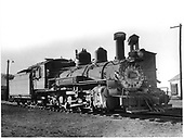D&amp;RGW #464 K-27 right front view with coaling tower in right background.<br /> D&amp;RGW  Durango, CO  Taken by Payne, Andy M. - 8/9/1956