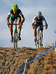 October 17, 2015 - Boulder, Colorado, U.S. - Men's elite cyclists, Jonathan Page #11 and Ben Berden #13, begin a difficult downhill section during the U.S. Open of Cyclocross, Valmont Bike Park, Boulder, Colorado.