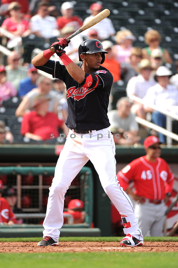 Cleveland Indians Eric Gonzalez (78) during a pre-season game against the Cincinnati Reds on March 1, 2016 at Goodyear Ballpark in Goodyear, AZ. The Reds beat the Indians 6-5.