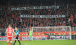 08.03.2019, Stadion an der Wuhlheide, Berlin, GER, 2.FBL, 1.FC UNION BERLIN  VS. FC Ingolstadt 04, <br /> DFL  regulations prohibit any use of photographs as image sequences and/or quasi-video<br /> im Bild Unionfans (1.FC Union Berlin) mit Spruchband zum Videobeweis<br /> <br /> <br />      <br /> Foto &copy; nordphoto / Engler