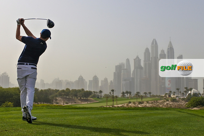 Matthew Fitzpatrick (ENG) on the 8th tee during Round 1 of the Omega Dubai Desert Classic, Emirates Golf Club, Dubai,  United Arab Emirates. 24/01/2019<br /> Picture: Golffile | Thos Caffrey<br /> <br /> <br /> All photo usage must carry mandatory copyright credit (© Golffile | Thos Caffrey)