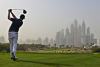Matthew Fitzpatrick (ENG) on the 8th tee during Round 1 of the Omega Dubai Desert Classic, Emirates Golf Club, Dubai,  United Arab Emirates. 24/01/2019<br /> Picture: Golffile | Thos Caffrey<br /> <br /> <br /> All photo usage must carry mandatory copyright credit (&copy; Golffile | Thos Caffrey)