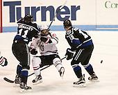 Tyler Deresky (Bentley - 11), Dalen Hedges (NU - 27), Billy Eiserman (Bentley - 19) - The visiting Bentley University Falcons defeated the Northeastern University Huskies 3-2 on Friday, October 16, 2015, at Matthews Arena in Boston, Massachusetts.