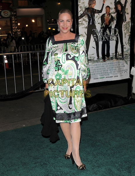 "KATRINA JACOB.Overature Pictures' L.A. Premiere of ""Mad Money"" held at The Mann Village Theatre in Westwood, California, USA..January 9th, 2008.full length white green black pattern print dress .CAP/DVS.©Debbie VanStory/Capital Pictures"