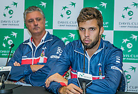 The Hague, The Netherlands, September 13, 2017,  Sportcampus , Davis Cup Netherlands - Chech Republic, Draw,  Chech captain Jaroslav Navritil and Jiri Vesely (R)<br /> Photo: Tennisimages/Henk Koster