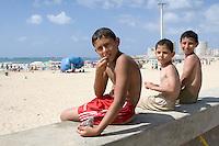 Tripoli, Libya - Libyan Boys, Mediterranean Beach Scene, Summer