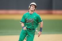 Spencer Myers (2) of the Notre Dame Fighting Irish hustles towards third base against the Wake Forest Demon Deacons at David F. Couch Ballpark on March 10, 2019 in  Winston-Salem, North Carolina. The Fighting Irish defeated the Demon Deacons 8-7 in 10 innings in game two of a double-header. (Brian Westerholt/Four Seam Images)