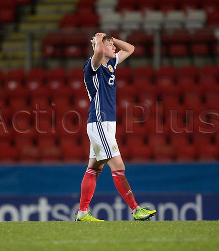 14th November 2017, McDiarmid Park, Perth, Scotland; UEFA Under 21 European Championships qualification, Scotland U-21 versus Ukraine U-21; Scotland's Ross McCrorie shows dejection after Scotland lose 2-0 to Ukraine