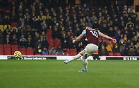 Burnley's Ashley Barnes scores his side's second goal from the penalty spot<br /> <br /> Photographer Rob Newell/CameraSport<br /> <br /> The Premier League - Watford v Burnley - Saturday 23rd November 2019 - Vicarage Road - Watford <br /> <br /> World Copyright © 2019 CameraSport. All rights reserved. 43 Linden Ave. Countesthorpe. Leicester. England. LE8 5PG - Tel: +44 (0) 116 277 4147 - admin@camerasport.com - www.camerasport.com