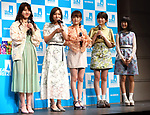March 12, 2018, Tokyo, Japan - Japanese female chorus group Little Glee Monster members attend a promotional event of Japanese cosmetics giant Shiseido's body care brand Sea Breeze in Tokyo on Monday, March 12, 2018. Japanese actor Tsuyoshi Furukawa and actress Natsumi Ikema also attended the event.    (Photo by Yoshio Tsunoda/AFLO) LWX -ytd-