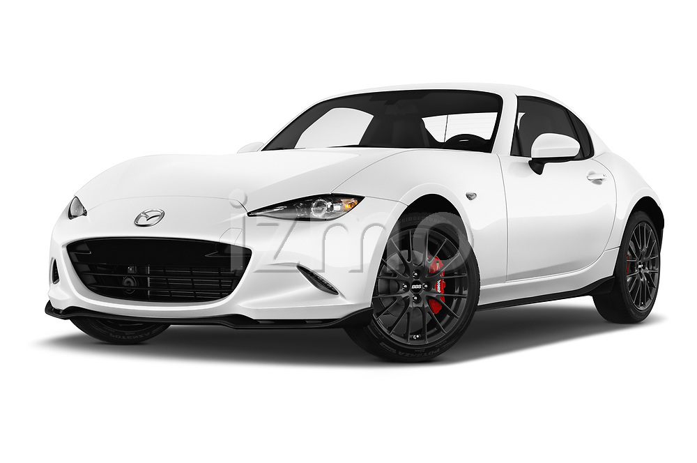Stock pictures of low aggressive front three quarter view of a 2017 Mazda MX-5 RF First Edition 2 Door Targa