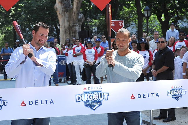 WWW.ACEPIXS.COM . . . . . <br /> June 18 2010, New York City....New York Yankees  shortstop Derek Jeter and New York Mets pitcher Mike Pelfrey join Delta Air Lines to officially open &quot;The Delta Dugout&quot; in Madison Square Park, as the Yankees and Mets open their second interleague series. June 18,2010 in New York City..., 2010 in New York City....Please byline: KRISTIN CALLAHAN - ACEPIXS.COM.. . . . . . ..Ace Pictures, Inc: ..tel: (212) 243 8787 or (646) 769 0430..e-mail: info@acepixs.com..web: http://www.acepixs.com