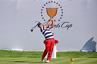 Patrick Reed (USA) watches his tee shot on 1 during round 4 Singles of the 2017 President's Cup, Liberty National Golf Club, Jersey City, New Jersey, USA. 10/1/2017. <br /> Picture: Golffile | Ken Murray<br /> <br /> All photo usage must carry mandatory copyright credit (&copy; Golffile | Ken Murray)