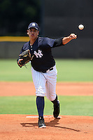 GCL Yankees 1 pitcher Orby Tavares (73) delivers a pitch during the second game of a doubleheader against the GCL Braves on July 1, 2014 at the Yankees Minor League Complex in Tampa, Florida.  GCL Braves defeated the GCL Yankees 1 by a score of 3-1.  (Mike Janes/Four Seam Images)