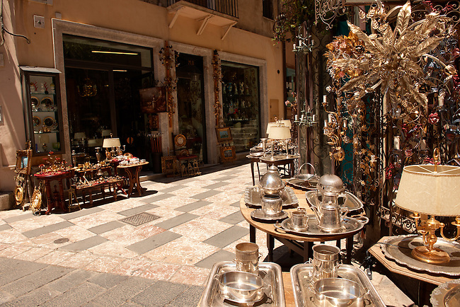 Antique shops in the main street Taormina, Sicily
