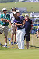 Hideto Tanihara (JPN) chips onto the 1st green during Thursday's Round 1 of the Dubai Duty Free Irish Open 2019, held at Lahinch Golf Club, Lahinch, Ireland. 4th July 2019.<br /> Picture: Eoin Clarke | Golffile<br /> <br /> <br /> All photos usage must carry mandatory copyright credit (© Golffile | Eoin Clarke)