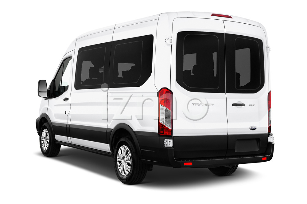Car pictures of rear three quarter view of a 2019 Ford Transit Wagon 150 XLT Wagon Med Roof Sliding Pass. 130 5 Door Passenger Van angular rear