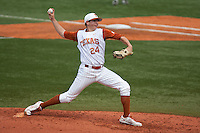 Texas Longhorns pitcher Parker French #24 delivers during the NCAA baseball game against the Texas A&M Aggies on April 28, 2012 at UFCU Disch-Falk Field in Austin, Texas. The Aggies beat the Longhorns 12-4. (Andrew Woolley / Four Seam Images)...