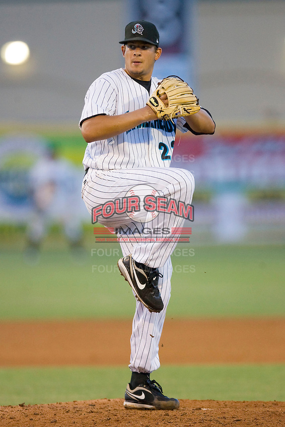 Starting pitcher Brad Hand #22 of the Jupiter Hammerheads in action against the Charlotte Stone Crabs at Roger Dean Stadium June 16, 2010, in Jupiter, Florida.  Photo by Brian Westerholt /  Seam Images