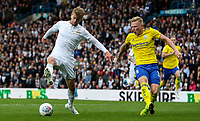 Leeds United's Patrick Bamford shields the ball from Birmingham City's Kristian Pedersen<br /> <br /> Photographer Alex Dodd/CameraSport<br /> <br /> The EFL Sky Bet Championship - Leeds United v Birmingham City - Saturday 19th October 2019 - Elland Road - Leeds<br /> <br /> World Copyright © 2019 CameraSport. All rights reserved. 43 Linden Ave. Countesthorpe. Leicester. England. LE8 5PG - Tel: +44 (0) 116 277 4147 - admin@camerasport.com - www.camerasport.com