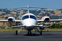 A Piaggio P.180 Avanti prepares to depart from the Petaluma Municipal Airport, Sonoma County, Petaluma, California