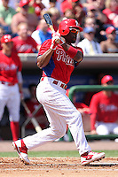 Philadelphia Phillies shortstop Jimmy Rollins #11 at bat during a spring training game against the Houston Astros at Bright House Field on March 7, 2012 in Clearwater, Florida.  (Mike Janes/Four Seam Images)