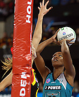 11.07.2010 Magic's Casey Williams and Thunderbirds Carla Borrego in action during the ANZ Champs Final netball match between the Magic and Tunderbirds played at the Adelaide Entertainment Centre in Adelaide. ©MBPHOTO/Michael Bradley