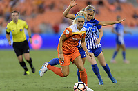 Houston, TX - Wednesday June 28, 2017: Rachel Daly brings the ball up the field during a regular season National Women's Soccer League (NWSL) match between the Houston Dash and the Boston Breakers at BBVA Compass Stadium.