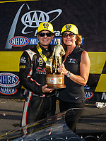 Oct 1, 2017; Madison , IL, USA; NHRA top fuel driver Steve Torrence celebrates with mother Kay Torrence after winning the Midwest Nationals at Gateway Motorsports Park. Mandatory Credit: Mark J. Rebilas-USA TODAY Sports