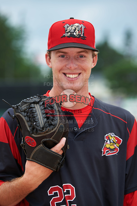 Batavia Muckdogs pitcher Travis Neubeck (22) poses for a photo before a game against the Tri-City ValleyCats on July 15, 2017 at Dwyer Stadium in Batavia, New York.  Tri-City defeated Batavia 5-4.  (Mike Janes/Four Seam Images)