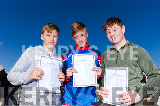 Cian Devine, Padraig Woods and Jim Cadogan were delighted to finally receive their Jr Cert. results on Wednesday morning in Mercy Mounthawk Secondary in Tralee.