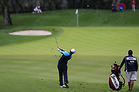 Ricardo Gouveia (POR) plays his 2nd shot on the 10th hole during Saturday's storm delayed Round 2 of the Andalucia Valderrama Masters 2018 hosted by the Sergio Foundation, held at Real Golf de Valderrama, Sotogrande, San Roque, Spain. 20th October 2018.<br /> Picture: Eoin Clarke | Golffile<br /> <br /> <br /> All photos usage must carry mandatory copyright credit (&copy; Golffile | Eoin Clarke)