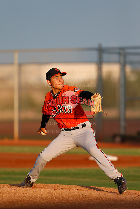 Luis Pino #41 of the AZL Giants pitches against the AZL Indians at the Cleveland Indians Training Complex on July 11, 2013 in Goodyear, Arizona. AZL Giants defeated the AZL Indians, 19-3. (Larry Goren/Four Seam Images)