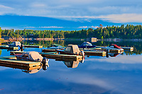 Boats in marina on the Winnipeg River<br />