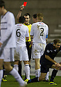 Raith Rovers' Jason Thomson (2) is sent off.