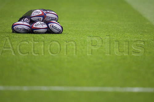 27.02.2016. Twickenham, London, England. RBS Six Nations Championships. England versus Ireland. Balls on the pitch ready for warm-up.