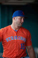 Syracuse Mets Tim Tebow (15) during an International League game against the Buffalo Bisons on June 29, 2019 at Sahlen Field in Buffalo, New York.  Buffalo defeated Syracuse 9-3.  (Mike Janes/Four Seam Images)