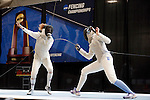 25 MAR 2016:  Columbia's Jackie Dubrovich scores a point against Ohio State's Eleanor Harvey in the finals of the women's foil event at the Division I Women's Fencing Championship  held at the Gosman Sports and Convention Center in Waltham, MA.   Harvey defeated Dubrovich in the finals 15-10. Damian Strohmeyer/NCAA Photos