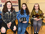 Niamh O'Regan, Aoibhe Dermody and Blaithín Hand at the Comhaltas Céilí in Ballsgrove Community Centre. Photo:Colin Bell/pressphotos.ie