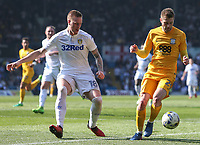 Preston North End's Tom Barkhuizen gets away from Leeds United's Pontus Jansson<br /> <br /> Photographer Alex Dodd/CameraSport<br /> <br /> The EFL Sky Bet Championship - Leeds United v Preston North End - Saturday 8th April 2017 - Elland Road - Leeds<br /> <br /> World Copyright &copy; 2017 CameraSport. All rights reserved. 43 Linden Ave. Countesthorpe. Leicester. England. LE8 5PG - Tel: +44 (0) 116 277 4147 - admin@camerasport.com - www.camerasport.com