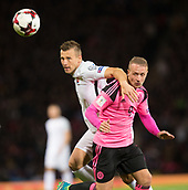 5th October 2017, Hampden Park, Glasgow, Scotland; FIFA World Cup Qualification, Scotland versus Slovakia; Slovakia's Jan Durica and Scotland's Leigh Griffiths battle for the ball