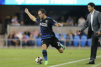 San Jose, CA - Saturday September 16, 2017: Marco Ureña, Wilmer Cabrera during a Major League Soccer (MLS) match between the San Jose Earthquakes and the Houston Dynamo at Avaya Stadium.